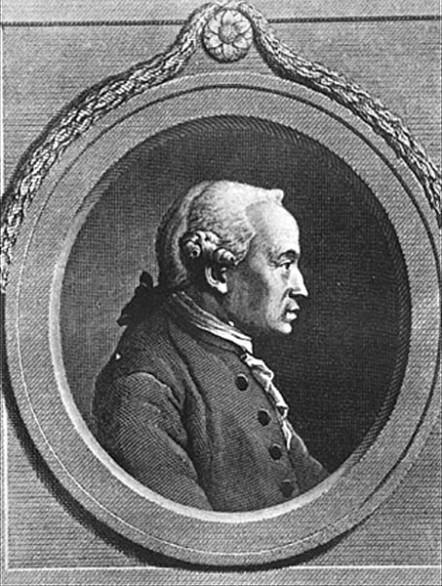 A famosa gravura com o Retrato Oval de Kant.