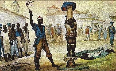 Debret pinta o açoite aplicado por um negro em outro