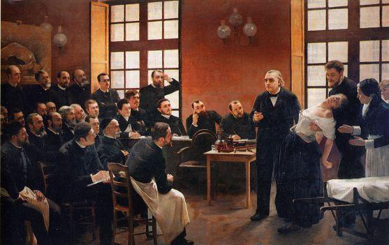 """""""Uma lição clínica em Salpêtrière"""", óleo Pierre Aristide André Brouillet, 1887.  O quadro retrata Jean-Mrtin Charcot (1925-1893), com quem Freud estudou, demonstrando os sintomas físicos da histeria em uma mulher."""